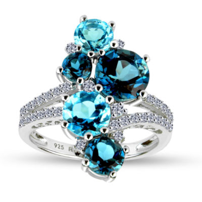 Womens Blue Blue Topaz Sterling Silver Cocktail Ring