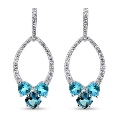Genuine Blue Blue Topaz Sterling Silver Drop Earrings
