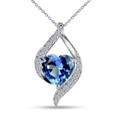 Womens Simulated Blue Tanzanite Sterling Silver Pendant Necklace