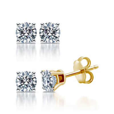 Deluxe Collection 1/2 CT. T.W. Genuine White Diamond 14K Gold 3.8mm Stud Earrings