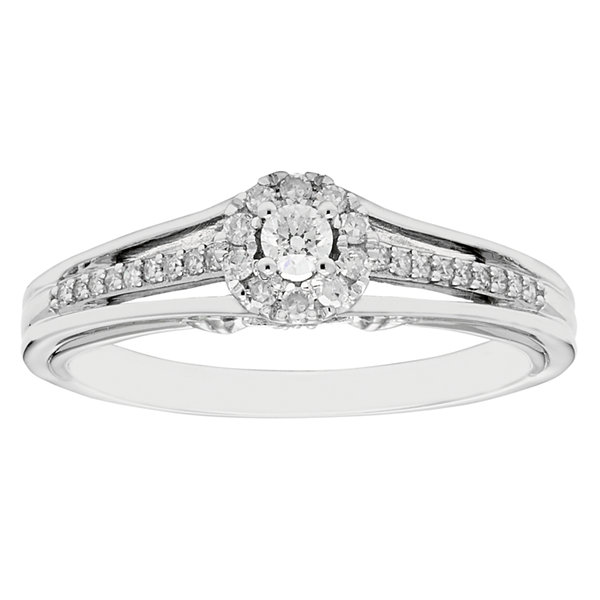 Enchanted Disney Fine Jewelry Womens 1/5 CT. T.W. Genuine Round Diamond 10K Gold Promise Ring