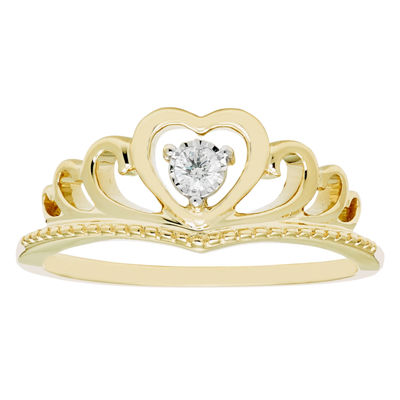 Enchanted Disney Fine Jewelry Womens Diamond Accent Genuine Diamond 10K Gold Round Promise Ring