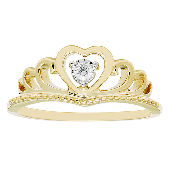 Enchanted Disney Fine Jewelry Womens Diamond Accent Genuine Diamond 10K Gold Heart Promise Ring