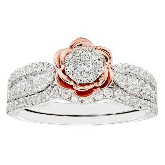 Enchanted Disney Fine Jewelry Womens 3/4 CT. T.W. Genuine White Diamond 14K Gold Beauty and the Beast Bridal Set