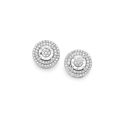 1/4 CT. T.W. Genuine White Diamond Sterling Silver Round Stud Earrings