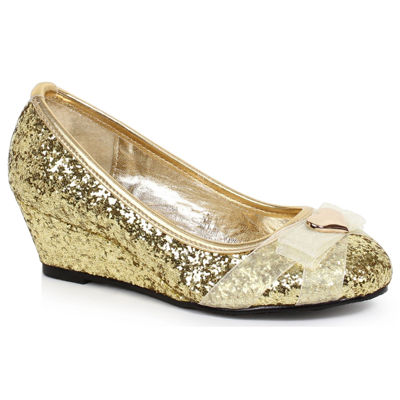 Children's Gold Glitter Princess Shoe with Heart Decor��