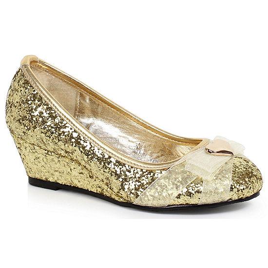 Children's Gold Glitter Princess Shoe with Heart Decor��
