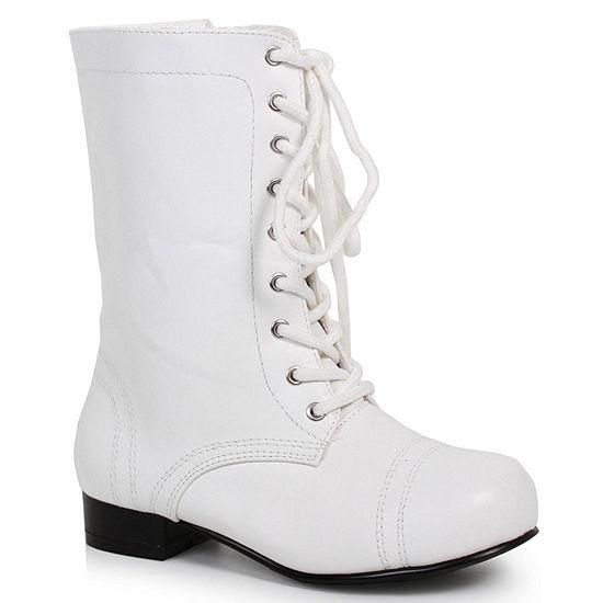 Children's White Ankle Combat Boot