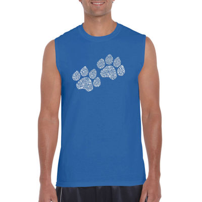 Los Angeles Pop Art Woof Paw Prints Sleeveless Word Art T-Shirt