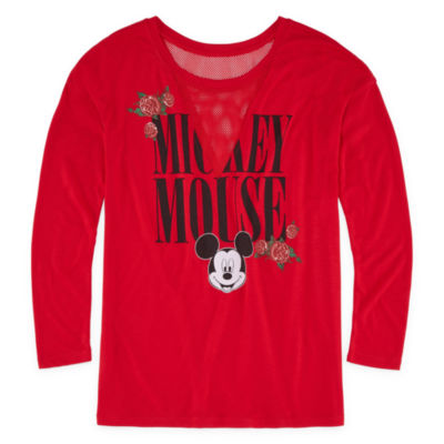 Long Sleeve V Neck Mickey Mouse Graphic T-Shirt
