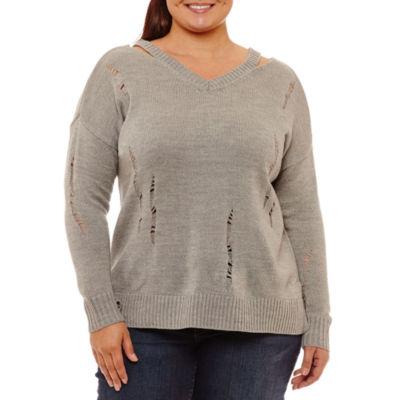 Arizona Destructed Sweater-Juniors Plus