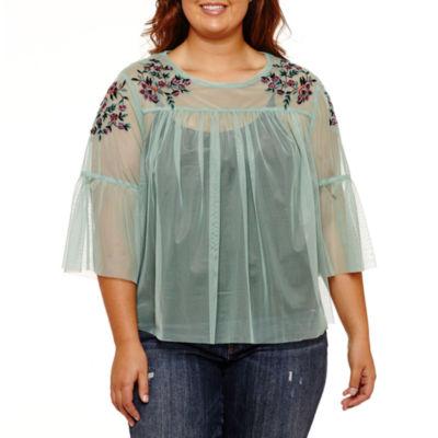 Arizona Sheer Embroidered Top- Juniors Plus