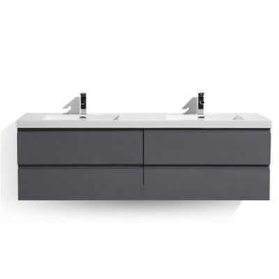 "Moreno Bath MOB 72"" Double Sink Wall Mounted Modern Bathroom Vanity With Reinforced Acrylic Sink"""