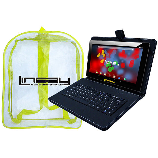 """LINSAY 10.1"""" 1280x800 IPS Screen Quad-Core 2GB RAM 16GB Android 9.0 Pie Tablet with Black Keyboard Case and Kids Back Pack"""