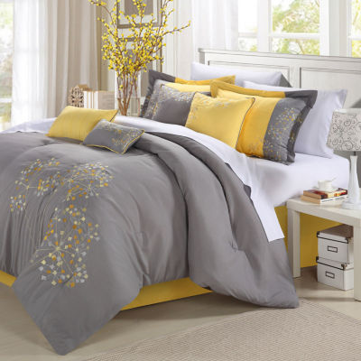 Chic Home Pink Floral 8-pc. Midweight Comforter Set