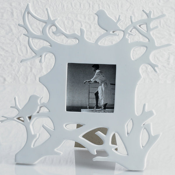 White Robins In Branches Tabletop Frame