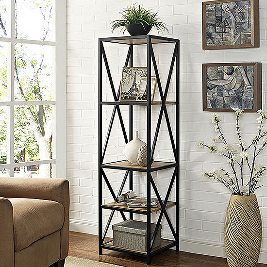 "61"" Tall X-Frame Metal and Wood Media Bookshelf"