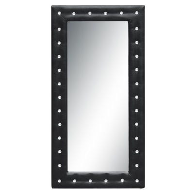 """Fine Mod Imports 46"""" Faux Leather Faux Crystal Button Tufted Leaning Floor Mirror"""