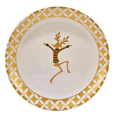 Certified International Gold Dancing Reindeer Serving Platter