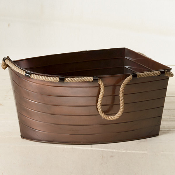 St. Croix Trading Kindwer Antique Copper Boat Tub with Hemp Handles