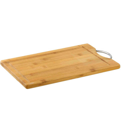 "10"" x 15"" Bamboo Cutting Board with Juice Well and Chrome Handle"