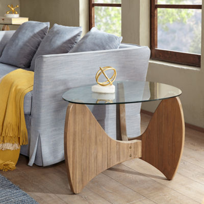 Madison Park Abel Glass Top End Table