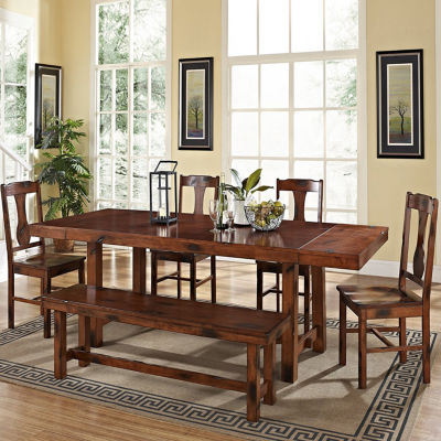 6-pc. Distressed Dark Oak Wood Dining Kitchen Set
