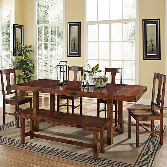 6-Piece Distressed Dark Oak Wood Dining Kitchen Set