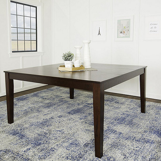 "60"" Cappuccino Wood Square Dining Table"