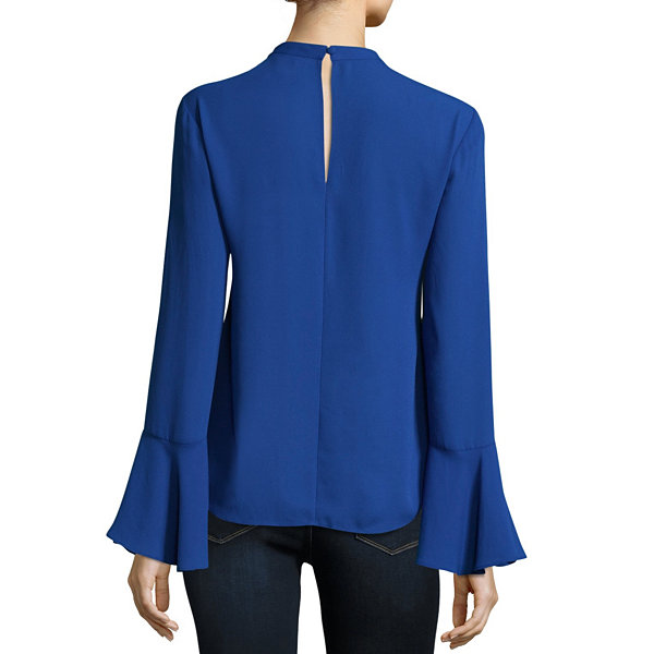Belle + Sky Long Sleeve Ruffle Key Hole Choker Top