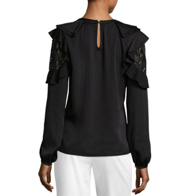 Worthington Long Sleeve Scoop Neck Woven Blouse