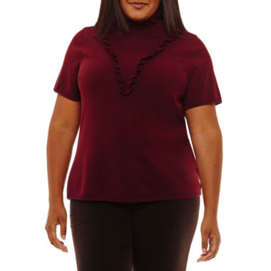 Worthington Short Sleeve Ruffle Front Pullover Sweater-Plus