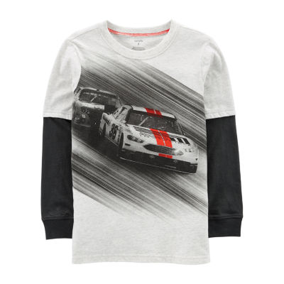 Carter's Doubler Tee Racecar Long Sleeve Round Neck T-Shirt-Preschool Boys