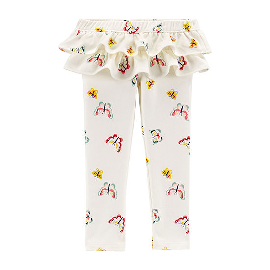 Carter's Ruffle French Terry Pants - Toddler Girls Girls Pull-On Pants - Toddler