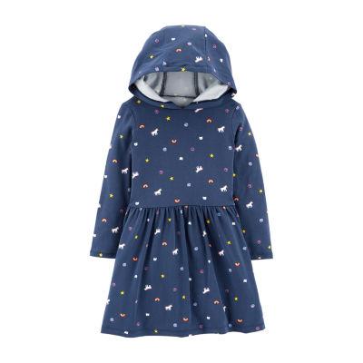 Carter's Unicorn Print Dress - Toddler Girls Long Sleeve Fitted Sleeve A-Line Dress - Toddler Girls