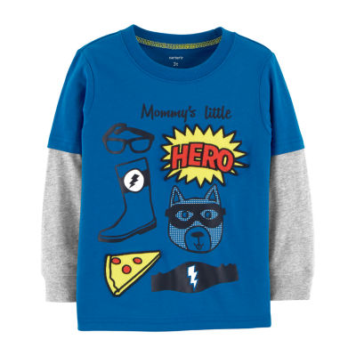 Carter's Long Sleeve Graphic Doubler - Toddler Boys Long Sleeve Boat Neck T-Shirt-Toddler Boys