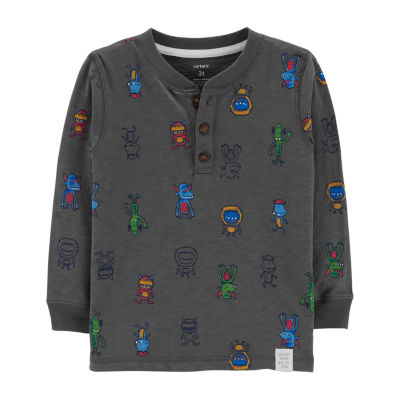 Carter's Boys Boat Neck Long Sleeve Graphic T-Shirt-Toddler