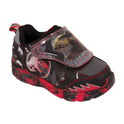 Jurassic World Black/Red Light-Up Athletic Boys Hook and Loop Sneakers- Toddler