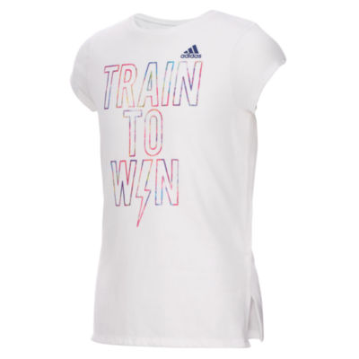 adidas Short Sleeve Round Neck T-Shirt-Big Kid Girls