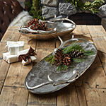 Two's Company Silver Antler Set Of 2 Trays