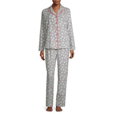 Sleep Chic Notch Collar Flannel Pajama Set