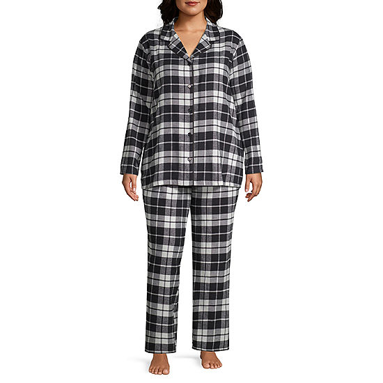 12b1376932 Sleep Chic Notch Collar Flannel Pajama Set - JCPenney