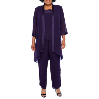 Maya Brooke 3-Piece Fortuny Trim Pant Set - Plus