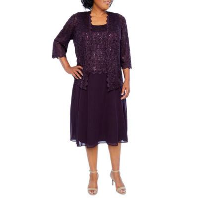 R & M Richards 3/4 Sleeve Mid Length Dress Jacket  - Plus
