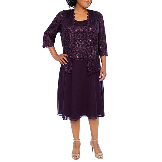 R & M Richards 3/4 Sleeve Lace Jacket Dress  - Plus