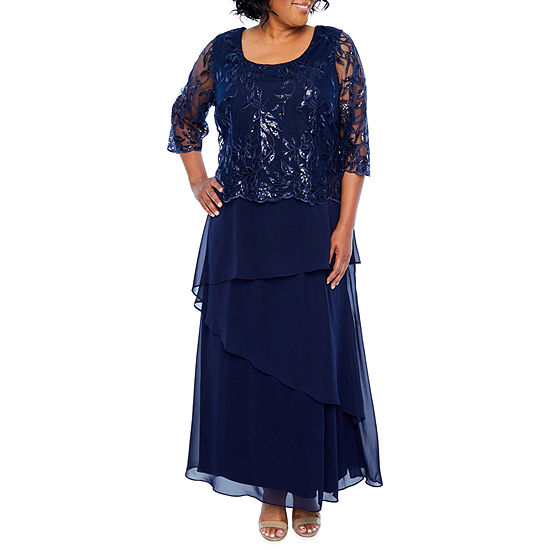 Maya Brooke 3/4 Sleeve Embroidered Bodice Gown - Plus