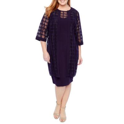 Maya Brooke WindowPane Duster Jacket Dress - Plus