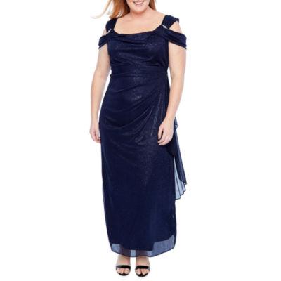 R & M Richards Off Shoulder Glitter Gown - Plus