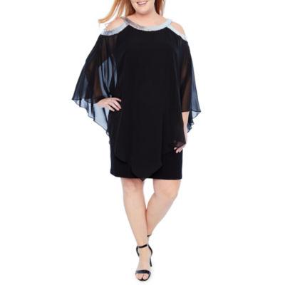 Scarlett Cold Shoulder Overlay Embellished Sheath Dress - Plus