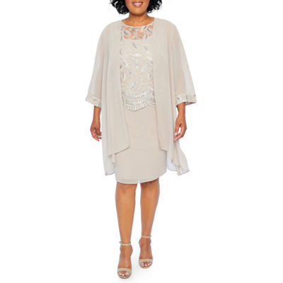 Maya Brooke Embroidered Duster Jacket Dress - Plus